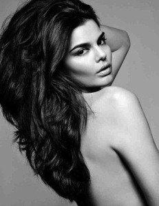 dark haired model, backless model